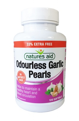 Natures Aid Garlic Pearls (Odourless) 90 Caps + 30 Free