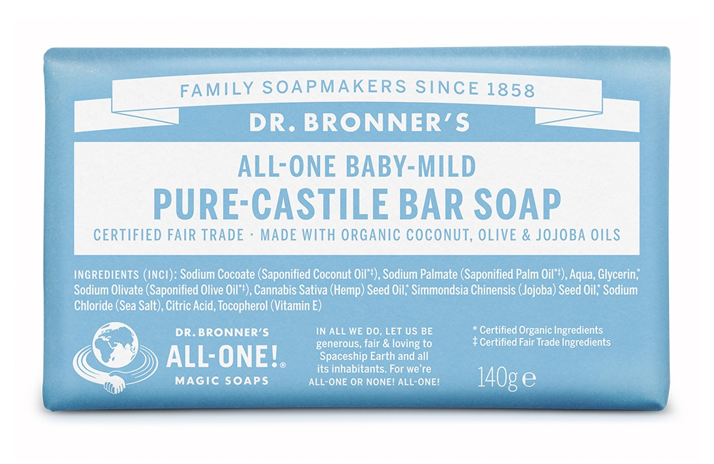 Dr Bronners Baby Mild Unscented Pure Castile Soap Bar 140g
