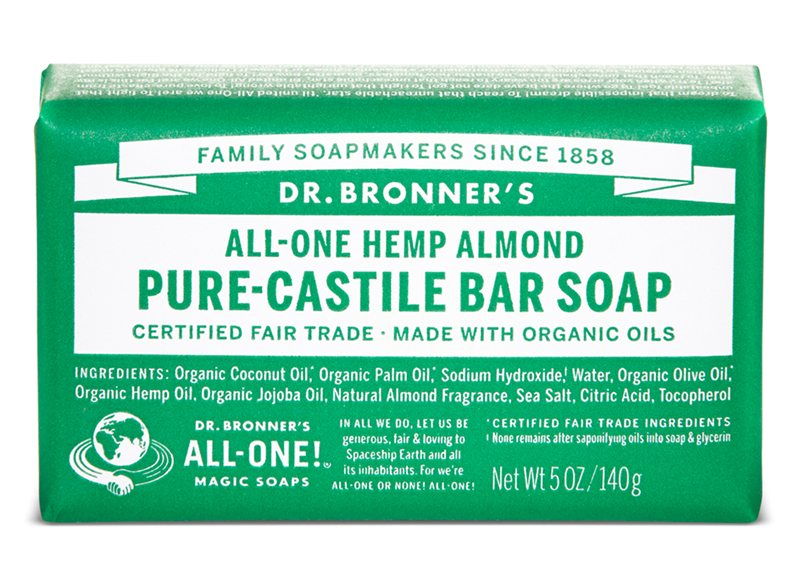 Dr Bronners Almond Pure Castile Soap Bar 140g