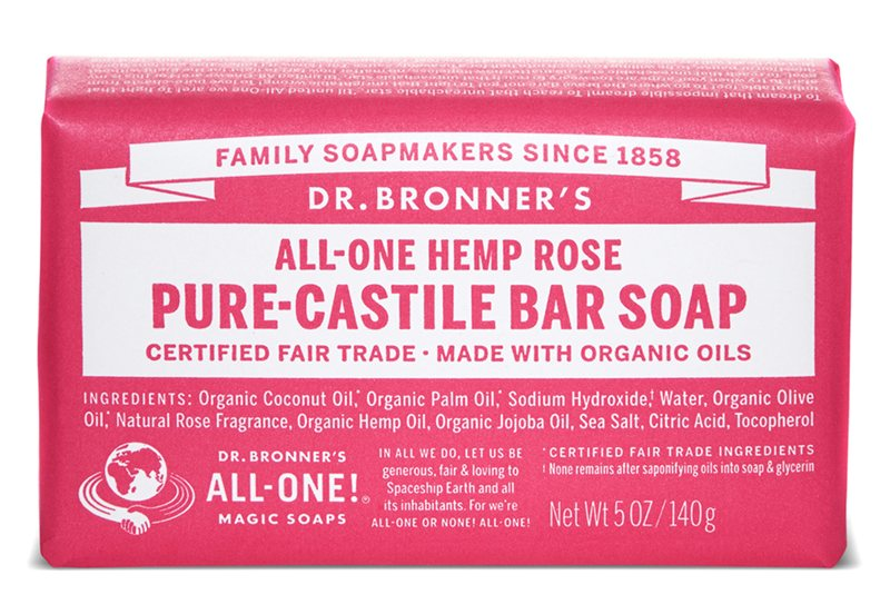 Dr Bronners Rose Pure Castile Soap Bar 140g
