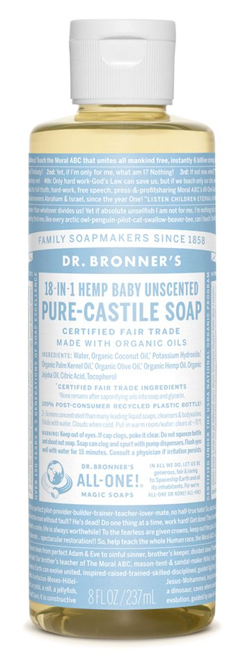 Dr Bronners Baby Mild Unscented Castile Liquid Soap 237ml