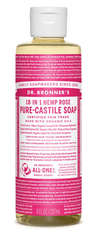 Dr Bronners Rose Castile Liquid Soap 946ml