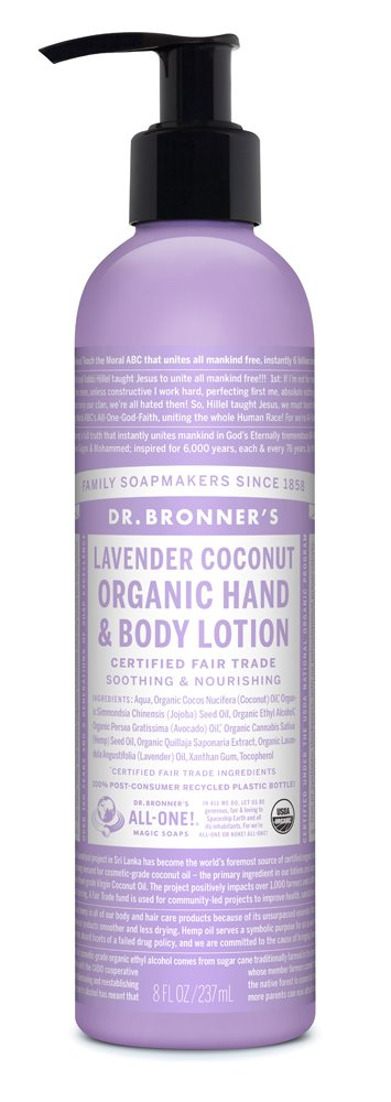 Dr Bronners Lavender Coconut Hand & Body Organic Lotion 237ml