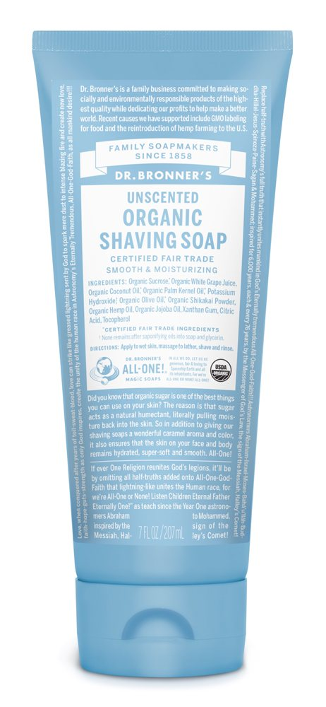 Dr Bronners Unscented Organic Shaving Soap 207ml