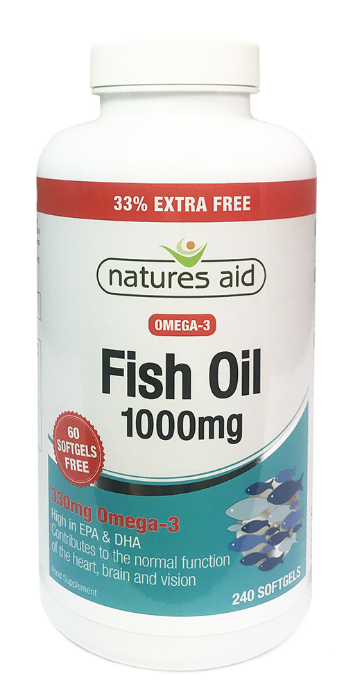 Natures Aid Fish Oil 1000mg 180 Softgels + 60 Free