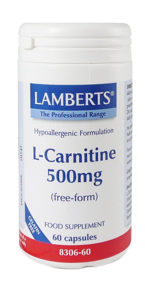 Lamberts L Carnitine 500mg 60 caps