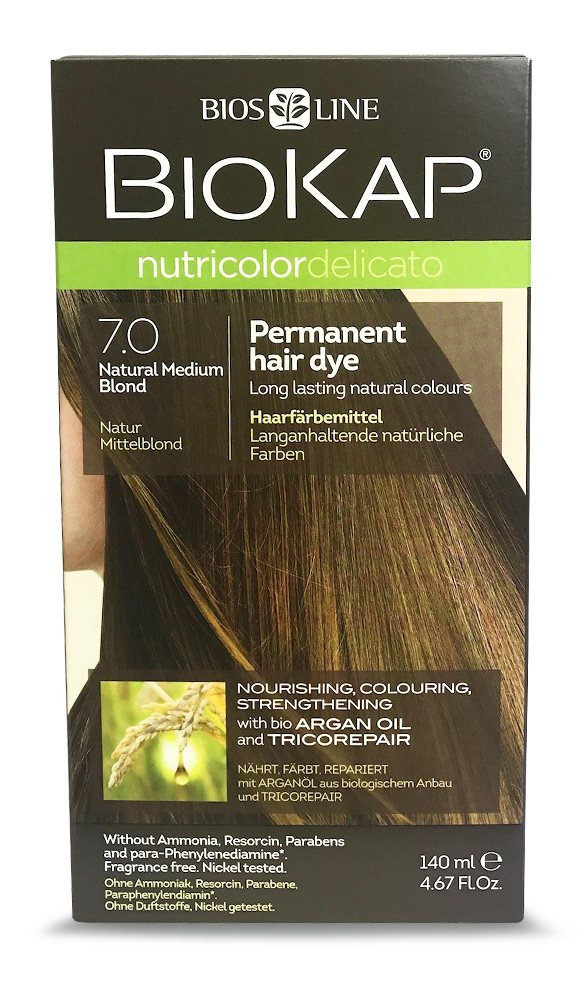 BioKap Natural Medium Blond 7.0 Permanent Hair Dye 140ml