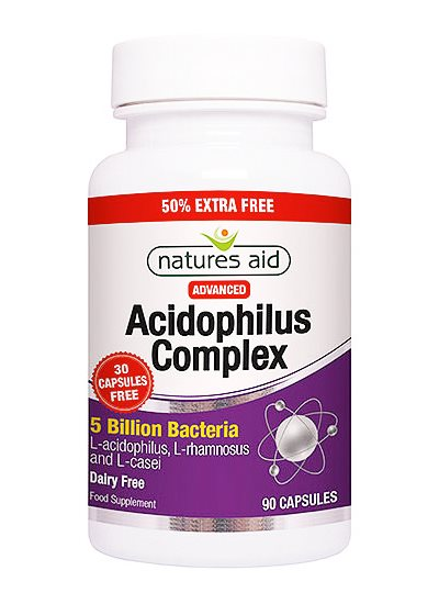 Natures Aid Acidophilus Complex (5 Billion Bacteria)  60 Vcaps + 30 Free